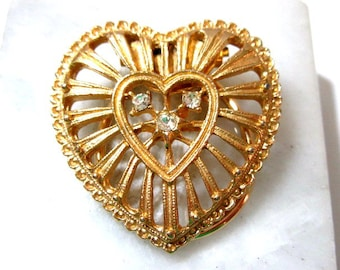 Heart Open Work Rhinestones Scarf Clip Holder Vintage