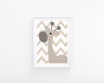 Neutral colors  Nursery art - Giraffe nursery print - Nursery Printable - Beige nursery - Nursery wall art  - Nursery decor - Nursery poster