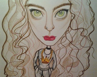 Lorde Rock Portrait Rock and Roll Caricature Music Art by Leslie Mehl