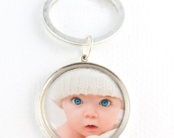 Baby Photo Key Ring | Personal Gift | Custom Keychain | Child Photo Silver Key Chain | Parent Gift | Gift for Dad | Gift for Mom