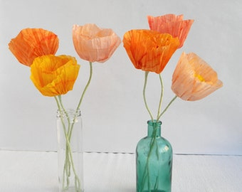 Paper flowers, 5 pieces of paper poppies, Icelandic poppies, Handmade tissue paper flowers