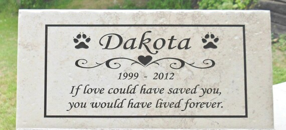 "Pet Memorial 12x6 ""Dakota"" Design  Personalized - Weathered Italian Porcelain Stone Tile -"