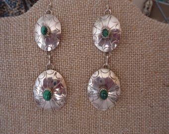 Vintage Southwestern Stamped Sterling Silver and Malachite Gemstone Dangling Concho Earrings, 12 Grams