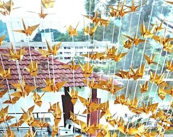 Shiny Gold Origami Cranes Garlands 10 Strands (Ready To Ship)