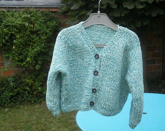 Loose-fitting vest for girl turquoise/ecru wool
