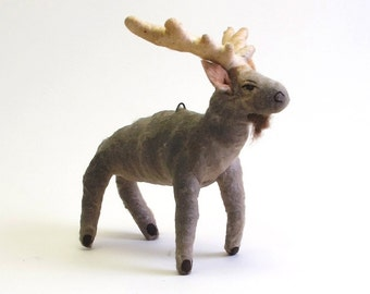 Vintage Inspired Spun Cotton Moose Ornament/Figure (MADE TO ORDER)