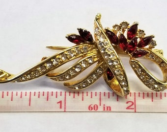 Gold Clear & Red Rhinestone Pendant