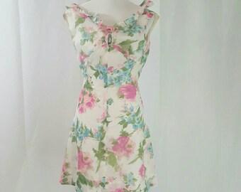 1960s Chiffon Floral A Line Mini Dress XS