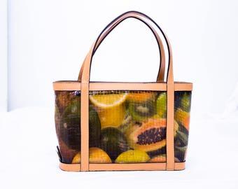 Unusual faux crocodile  Handbag depicting fruit  by Max NewYork
