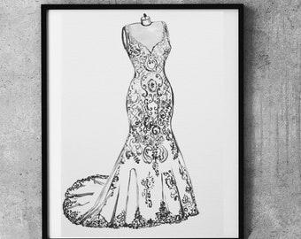 Wedding dress sketch, Custom Wedding sketch, First Year Paper Anniversary Gift, Wedding Gift, Lace dress, hand drawn, bridal illustration