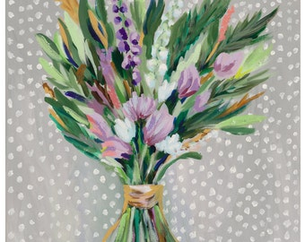 "Spring Blooms, 8.5""x 11"" Signed Large Print of Original Acrylic Painting in a 11"" x 14"" mat"