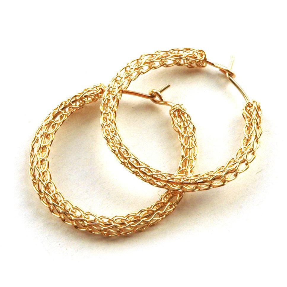 Gold Creolen gold gefüllte Reifen Draht häkeln mittlerer