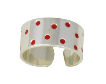 Spotted Polka Dot Ring in Silver and Red Enamel // Adjustable Modern Handmade Sterling Silver Ring // Choose Your Accent Color