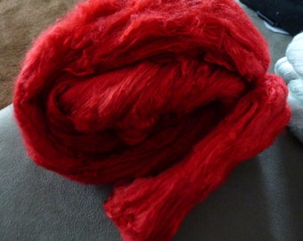Hand Dyed Silk Top Really Red 2 Ounces