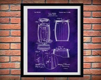 Patent 1899 Wine Barrel - Wine Art Print Poster - Wall Art - Winery Wall Art - Bacchus - Dionysus - Wine Tour Art