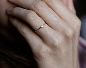 Trillion Diamond Ring, Diamond Engagement Ring, Triangle Diamond Ring, Engagement Ring, Tiny Diamond Ring, Diamond Solitaire Ring, 14k Gold