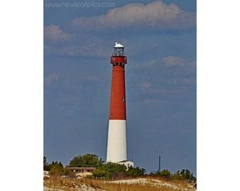 Old Barney Lighthouse photo, Coastal Wall Art, Blue Beach Art, Jersey Shore Beach Photography, New Jersey Coast Art, Long Beach Island NJ