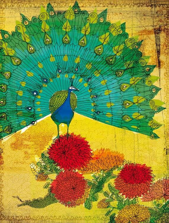 Peacock Wall Art Print illustration rich colours