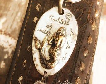 Goddess of water - hand stamped - mermaid keychain