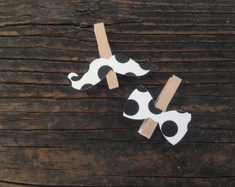 Polka Dot Bow Tie Mustache Clothespin Decoration Baby Shower Dont Say Baby Game Wedding Party Favor Pins Clips Birthday Party Diaper Cake