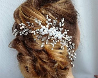Hair piece, Bridal hairpiece, Crystal jewelry,Pearl hair comb, Wedding Hair piece, Bridal headpiece, Ivory Hair jewelry