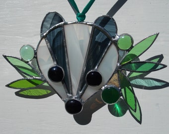 """Stained Glass Badger Sun Catcher Hanging Window or Wall Art Black/White & Mixed Green Glass Perfect Gift 5""""x 6"""" Brock Woodland Wildlife Gift"""