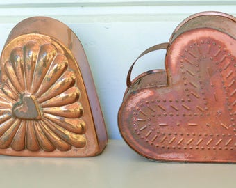 Copper Heart Molds, Italian Gelatin Mold, Cheese Mold