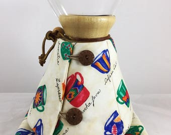 Handmade Chemex Cozy - 8 CUP POT, Red Blue Green Coffee Cups on Off-White Fabric, Coffee Theme Words, Insulated Cozy, Coffee Lover Gift