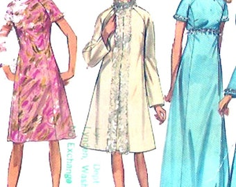 Retro Coat Dress 1970s Simplicity 9122 vintage sewing pattern Bridesmaid Party Bust 36 UNCUT