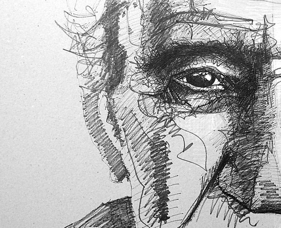 Line Art Portrait : Line drawing portrait old man sketch modern art