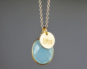 Aqua Chalcedony - Chalcedony Necklace - Gold Charm Necklace - Layering Necklace - Love Jewelry - Chalcedony Jewelry - Stamped Jewelry - Gift