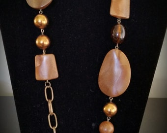 Wood Beads and Bronze Chain Adjustable Necklace