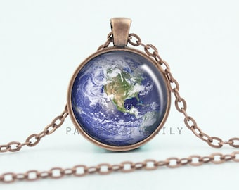 Earth Pendant Necklace - Copper Earth Pendant - Earth Jewelry - Earth Charm - World Charm - Earth Gifts - Natural Earth -  (B4582)