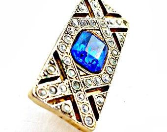 Art Deco Rhinestone Brooch  Sapphire Blue
