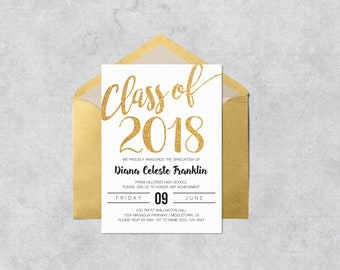 College graduation announcement template etsy printable graduation invitation class of 2018 gold glitter instant download customizable and printable graduation filmwisefo Choice Image