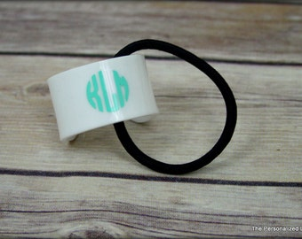 Monogram Ponytail Holder - Personalized Monogrammed Hair Accessories Pony Cuff Hait Tie