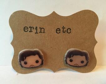 Handmade Plastic Fandom Earrings - Game of Thrones - Jon Snow