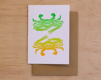 Blue Swimmer Crab - Papercut Marine Animal Letterpress Card