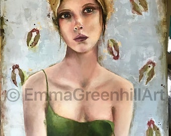 """Emma Greenhill Art print """"Nora"""" Matted print on heavy watercolor paper"""