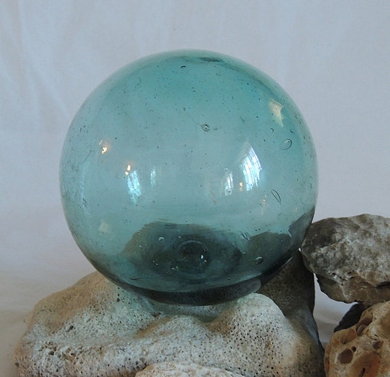 "Vintage 13"" In Circumference Japanese GLASS FISHING FLOAT Sky Blue, Maker Mark (#48)"