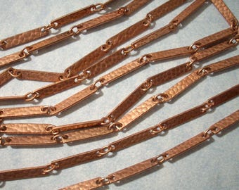 Vintage Copper Chain (5 FT) Hammered Copper Bar Link Chain