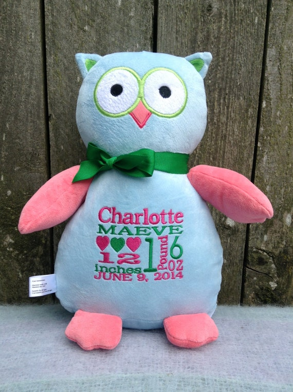 Personalized baby gift owl stuffed animal birth personalized baby gift owl stuffed animal birth announcement boy girl gender neutral baby shower gift for new parents easter basket gift negle Choice Image