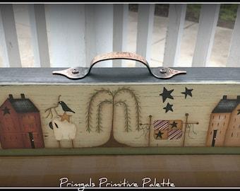 Primitive Long Wood Saltbox House Shelf Sitter-Handle-Home Decor