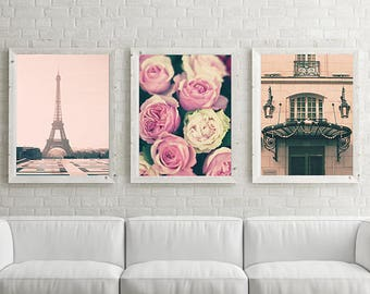 Paris photography, mothers day gift, , extra large wall art, Paris wall art, wall art canvas, framed wall art, Eiffel tower gallery wall set