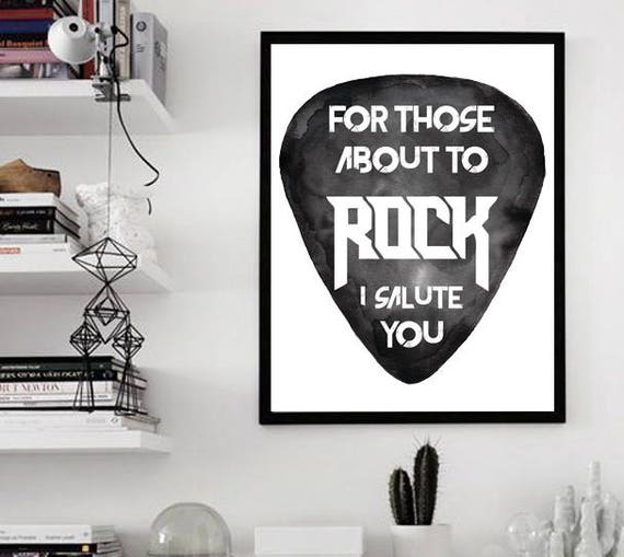 For those about to ROCK! | AC/DC | Paper poster | Rock music art | Black and white wall art| Watercolor| Dorm room wall decor | ZuskaArt