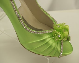 Neon Green Wedding Shoes Crystals and Flowers, peep toe pump, rhinestones embellished, rouged hand dyed satin