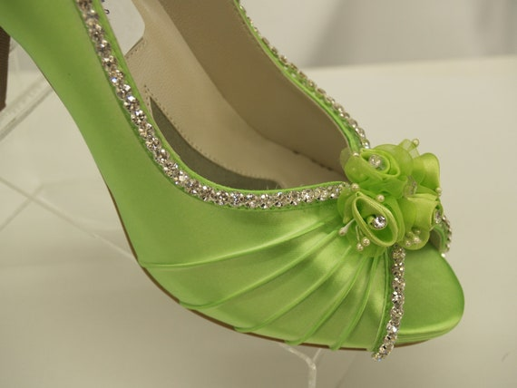 Captivating Neon Green Wedding Shoes Crystals And Flowers Peep Toe Pump