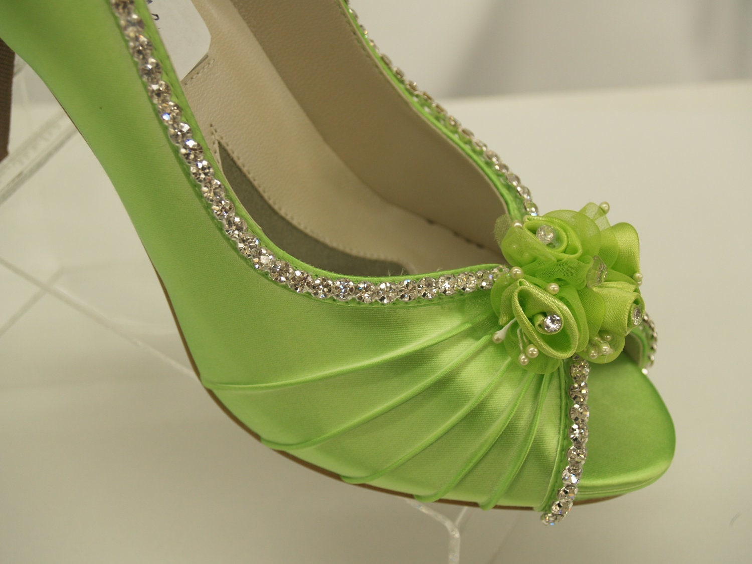 Neon Green Wedding Shoes Crystals And Flowers Peep Toe Pump