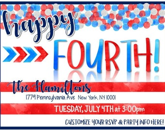 Fourth of July No-Prep Party in a Box! Invites, Banners, Food Tags, Photobooth Props, Recipes, Table Decor, Favors, Digital Files + MORE!