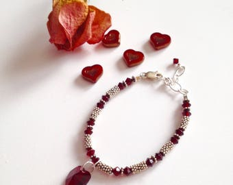 Red Swarovski Heart, Crystal and Silver Bracelet